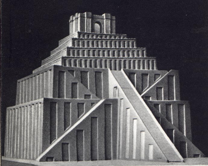 A reconstruction of a Sumerian ziggurat