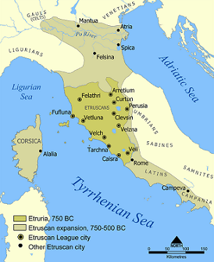 Location of Etruscan Civilization and the city states