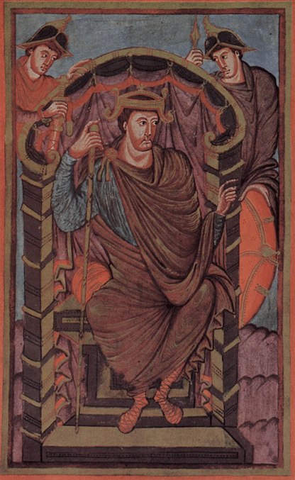 King Lothair I is shown in a cloak fastened on one shoulder worn over a long-sleeved tunic and cross-gartered hose