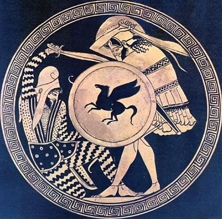 Ancient Greek hoplite at war
