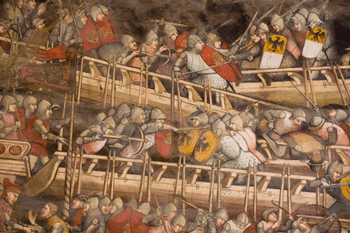 Battle between Venetian and Holy Roman fleets; detail of fresco by Spinello Aretino 1407-1408