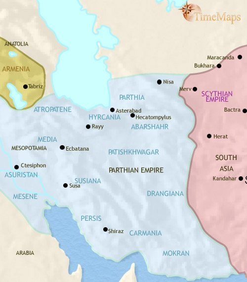 Map of Iran at 30BCE