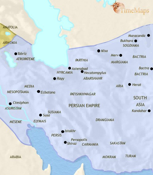 Map of Iran at 500CE