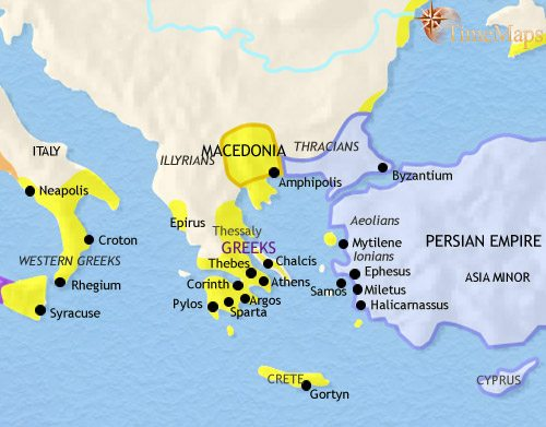 Map of Greece and the Balkans at 500BC