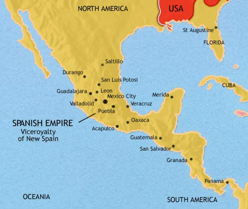 Map of Mexico and Central America at 1789CE