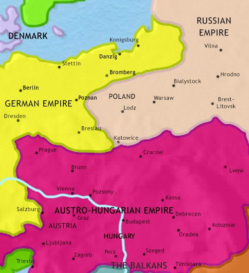 Map of East Central Europe at 1871CE