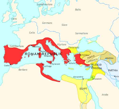 Map of Rise of Rome at 100BCE