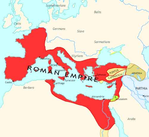 Map of Rise of Rome at 1CE