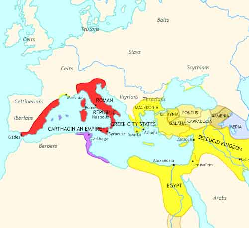 Map of Rise of Rome at 200BCE
