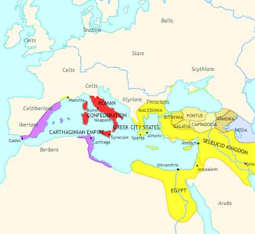Map of Rise of Rome at 220BCE