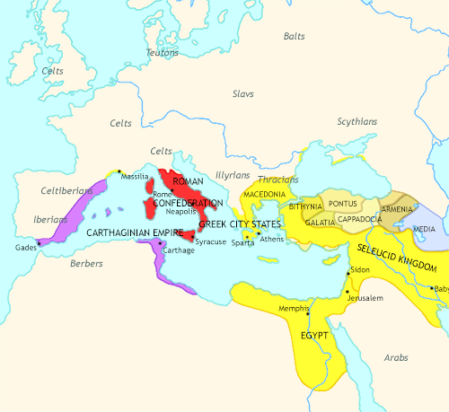 Map of Rise of Rome at 240BCE
