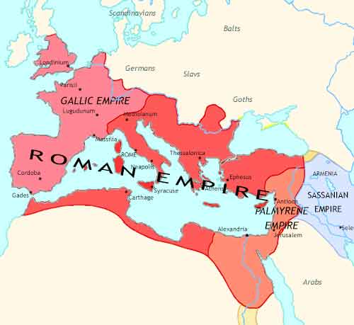 Map of Fall of Rome at 260CE