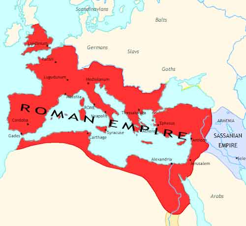 Map of Fall of Rome at 305CE