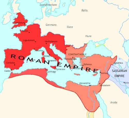 Map of Fall of Rome at 395CE