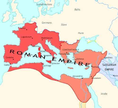 Map of Fall of Rome at 410CE