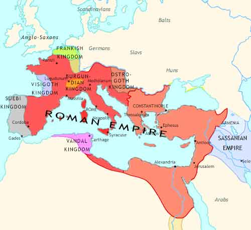 Map of Fall of Rome at 460CE