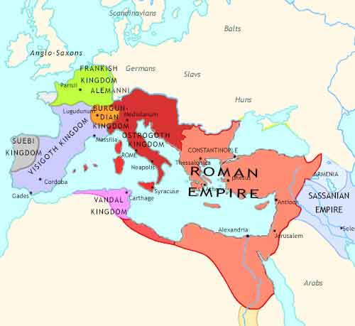 Map of Fall of Rome at 500CE