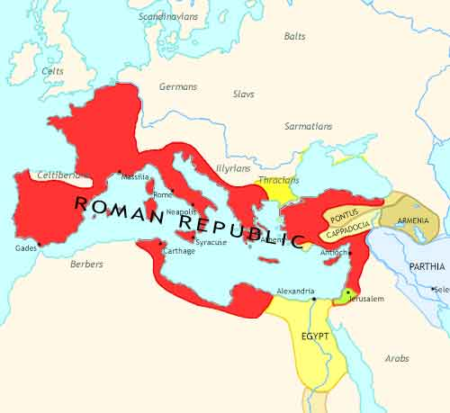 Map of Rise of Rome at 50BCE