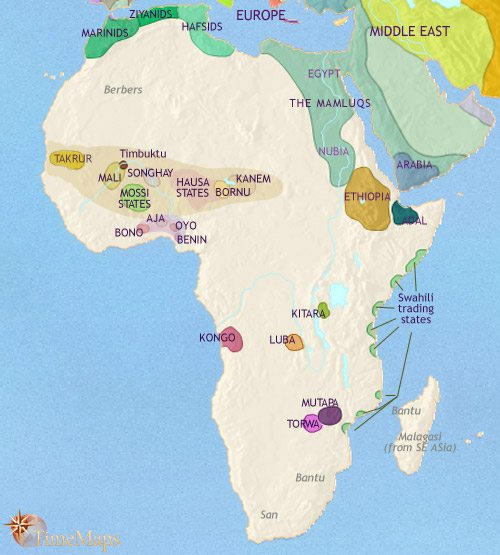 Map of Africa at 1453AD