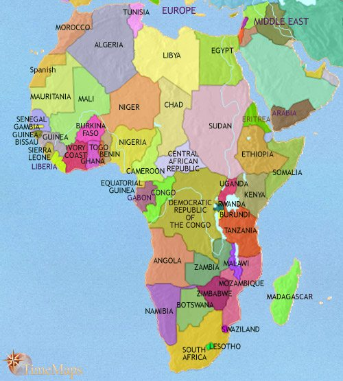 Map of Africa at 2005AD