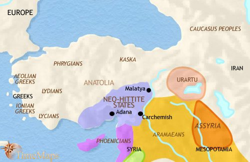 Map of Turkey at 1000BCE