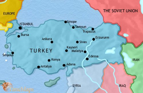 Map of Turkey at 1960CE