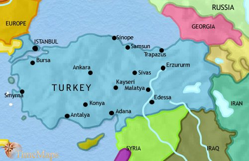 Map of Turkey at 2005CE