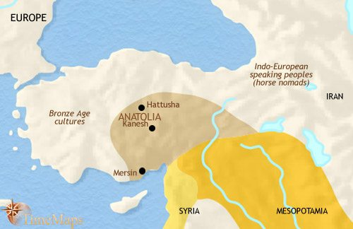 Map of Turkey at 2500BCE