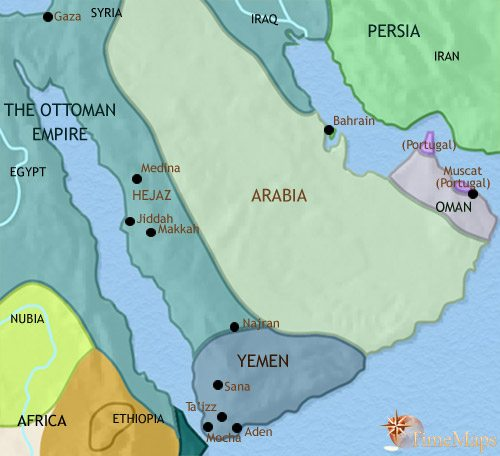 Map of Arabia at 1648CE