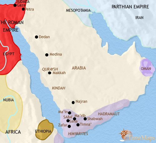 Map of Arabia at 200CE