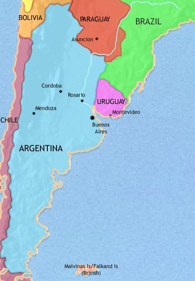 Map of Argentina, Paraguay and Uruguay at 1871AD