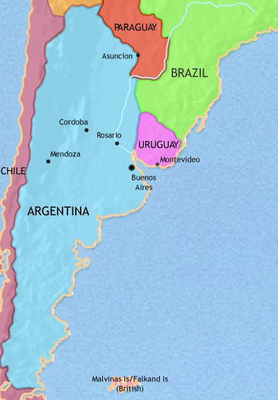 Map of Argentina, Paraguay and Uruguay at 1914AD