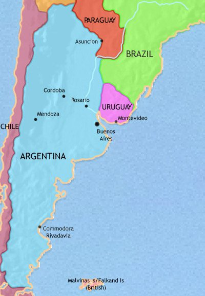 Map of Argentina, Paraguay and Uruguay at 1960AD