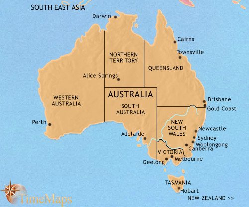 Map of Australia at 2005CE