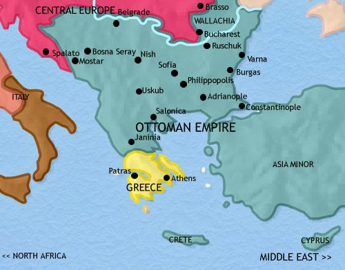 Map of Greece and the Balkans at 1837AD