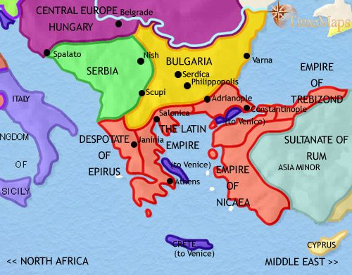 Map of Greece and the Balkans at 1215AD