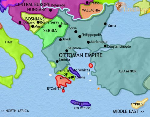 Map of Greece and the Balkans at 1453AD