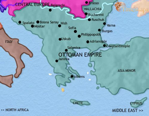 Map of Greece and the Balkans at 1789AD