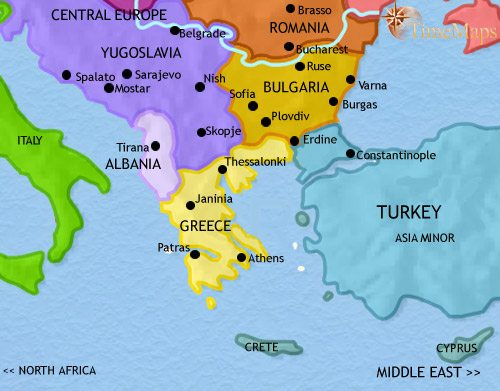 Map of Greece and the Balkans at 1960CE