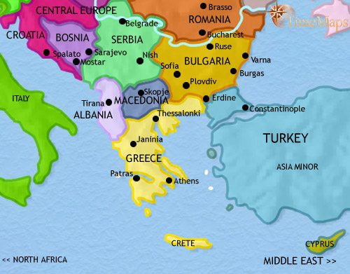 Map of Greece and the Balkans at 2005AD