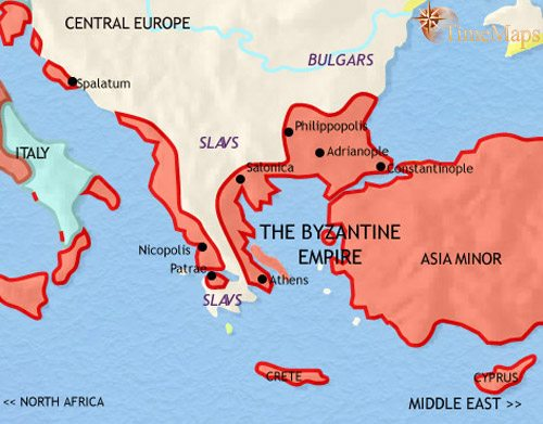 Map of Greece and the Balkans at 750AD