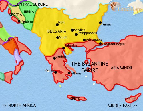 Map of Greece and the Balkans at 979AD