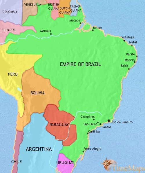 Map of Brazil at 1871AD