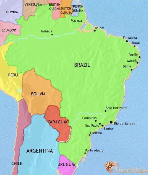 Map of Brazil at 1914AD