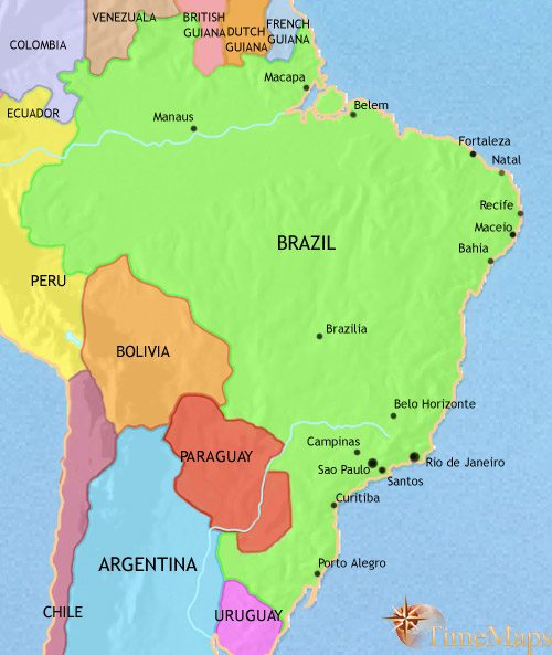 Map of Brazil at 1960AD