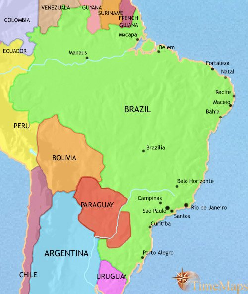 Map of Brazil at 2005AD