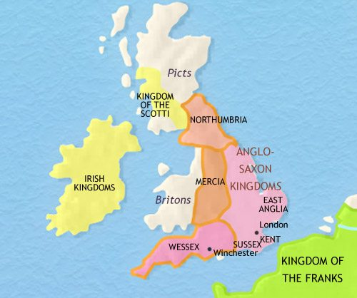 Map of Britain at 750AD