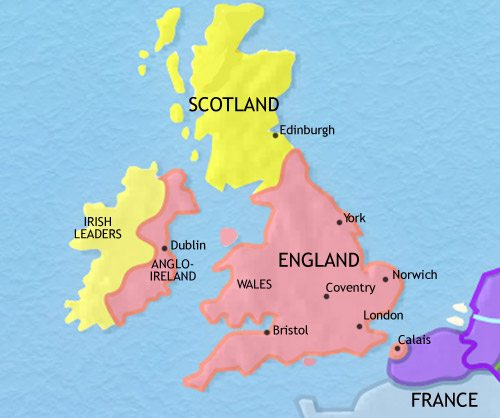Map of Britain at 1453AD