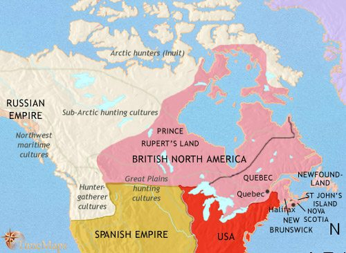 Map of Canada at 1789AD