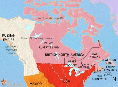 Map of Canada at 1837AD